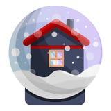 Snowglobe house icon, cartoon style vector illustration