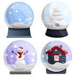 Snowglobe icon set, cartoon style stock illustration