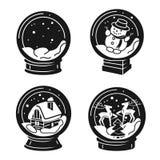 Snowglobe icons set, simple style royalty free illustration