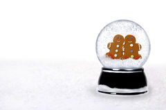 snowglobe intérieur heureux de 2 gens de pain d'épice Image stock