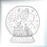 Snowglobe med den dekorerade xmas-staden Royaltyfria Bilder