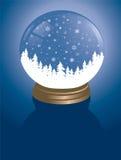 Snowglobe met bos Stock Afbeelding