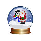 Snowglobe met de Kerstman en sneeuwman Stock Foto