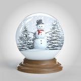 Snowglobe met sneeuwman en bomen   Royalty-vrije Stock Foto