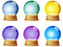Snowglobe Set. Set of 6 Colored Empty Snowglobes Stock Images