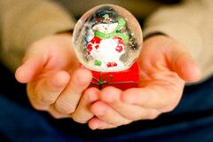 Snowglobe with snowman Royalty Free Stock Photos
