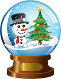 Snowglobe with Snowman and Christmas Tree. Illustration featuring snowglobe with inside snowman and christmas tree under snowfall isolated on white background Stock Images