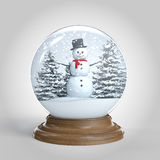 Snowglobe with snowman and trees  Royalty Free Stock Photo