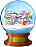 Snowglobe Snowy Village Winter Scene Isolated Royalty Free Stock Photography