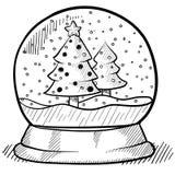 Snowglobe Zeichnung Lizenzfreies Stockfoto