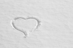 Snowhjärta på målad bakgrund texturerar Arkivfoto
