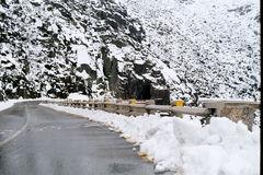 Snowie mountain road. High mountain road covered with snow Stock Images