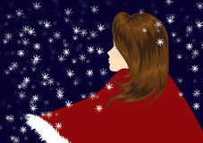 Snowing all around. Illustration of a girl with brown hair and a red winter coat. It is winter, it is close to Christmas, it is night, and it is snowing Royalty Free Stock Images