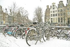 Snowing in Amsterdam the Netherlands Royalty Free Stock Photos