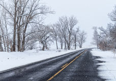 Snowing on the back road Stock Image