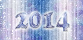 Snowing banner 2014. Happy new year 2014 card with iced text and snowing effect stock illustration