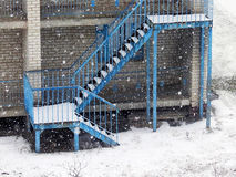 It is snowing blue staircase Stock Image