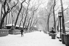 Snowing Bryant Park Stock Photography