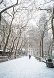 Snowing Bryant Park Royalty Free Stock Image
