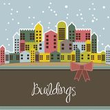 Snowing buildings Royalty Free Stock Photos