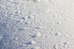 Snow on car windshield covered with fresh Christmas snow royalty free stock photos
