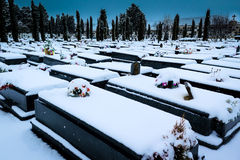 Snowing in the cemetery. St José. Burgos, Spain Royalty Free Stock Photos