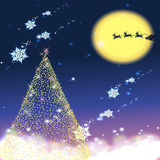 SNOWING CHRISTMAS. A very realistic Christmas tree in a snowing night Royalty Free Stock Images
