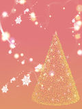 SNOWING CHRISTMAS. A very realistic Christmas tree in a snowing night Stock Photo
