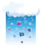 Snowing on Christmas. Gifts snowing on Christmas day Royalty Free Stock Images