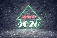 Snowing 2020 christmas holiday with colorful neon lights Stock Photography