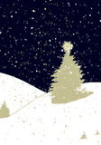 Snowing Christmas landscape. Illustration of Christmas Eve with pine trees and snow drifts Royalty Free Stock Images