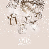 Snowing Christmas sketch decoration Stock Photo