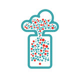 Snowing cloud icon vector illustration. Cloud icon on white background. Colorful bubble cloud. Red and blue cloud computing icon Royalty Free Stock Images