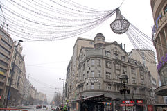 Snowing, day in Belgrade in fog with lanterns Royalty Free Stock Images