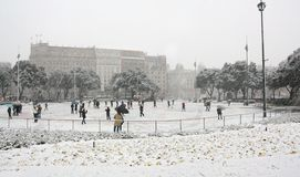 Snowing in downtown Barcelona Stock Image