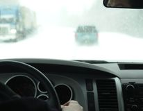 Snowing Driving Winter Stock Photo