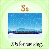 Snowing. Flashcard letter S is for snowing Stock Photo