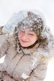 Snowing girl Royalty Free Stock Photos