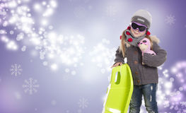 Snowing girl Stock Photography