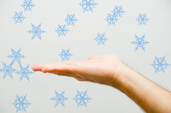 Snowing on hand Royalty Free Stock Image