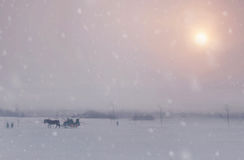 Free Snowing In Christmas Winter In The Village. Stock Photography - 81267872