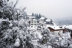 Snowing In Forni Stock Photo