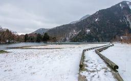 Snowing Lake Yuno, Nikko, Japan stock image