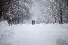 Snowing landscape in the park with people passing by Royalty Free Stock Photography