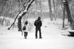 Snowing landscape in the park with people passing by Stock Images