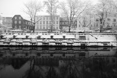 Snowing in Ljublana Royalty Free Stock Photography