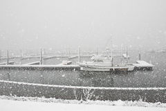 Snowing at the Marina Stock Photos