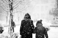 Snowing miastowy krajobraz z ludźmi przechodzi obok Zdjęcie Stock