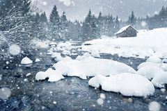 Snowing in the mountains. Snowflakes and fir trees Royalty Free Stock Photo