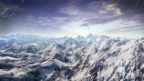 Snowing mountains. vally. forwarding camera view.3D